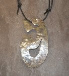 Curvy Large Hammered Sterling Silver Pendant