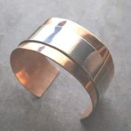 Copper and Sterling Silver Layered Thick Bangle Cuff, Unisex
