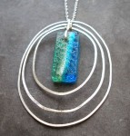 3 Textured Silver Ovals with turquoise stone