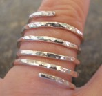 5 strand Hammered Sterling Silver Ring (or in 9ct Gold)
