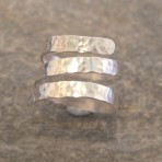 3-strand Thick Hammered Silver Ring (or in 9ct Gold)