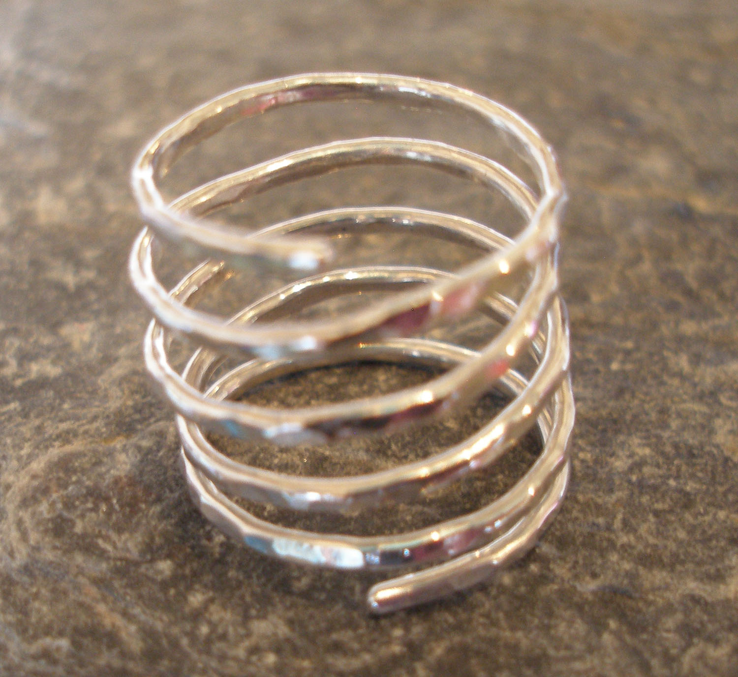 5 strand hammered Sterling Silver Ring