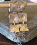 10 Squares Heavy Textured Silver Bracelet Cuff (or 5 Squares)