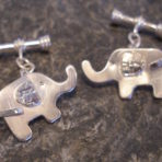 Sterling Silver Textured Elephant Cufflinks