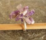 Chunky Amethyst or Rock Crystal Nugget Twisted Silver Ring