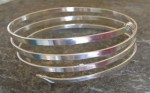 4 Strand Thick Silver Spiral Bangle