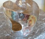 Curvy Hammered Silver Cuff Bangle – and with copper detailing