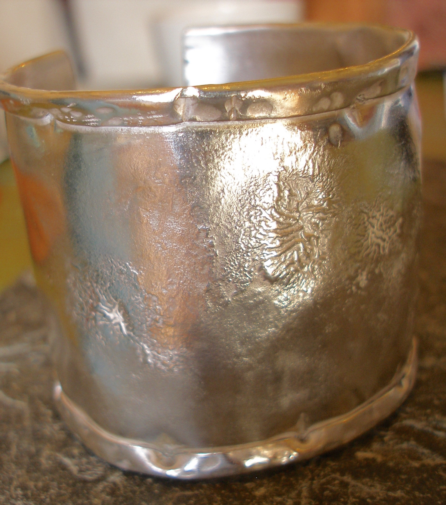 Sterling Silver Thick Textured Cuff Bangle with Rolled Edges