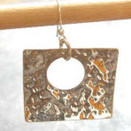Large Hammered Sterling Silver Square Earrings (or 9ct Gold)