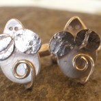 Sterling Silver Textured Mouse Mice Cufflinks