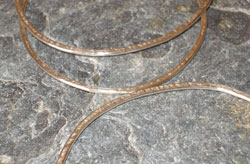 sterling silver oval hammered bangle