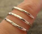 3 strand Hammered Sterling Silver Ring (or in 9ct Gold)