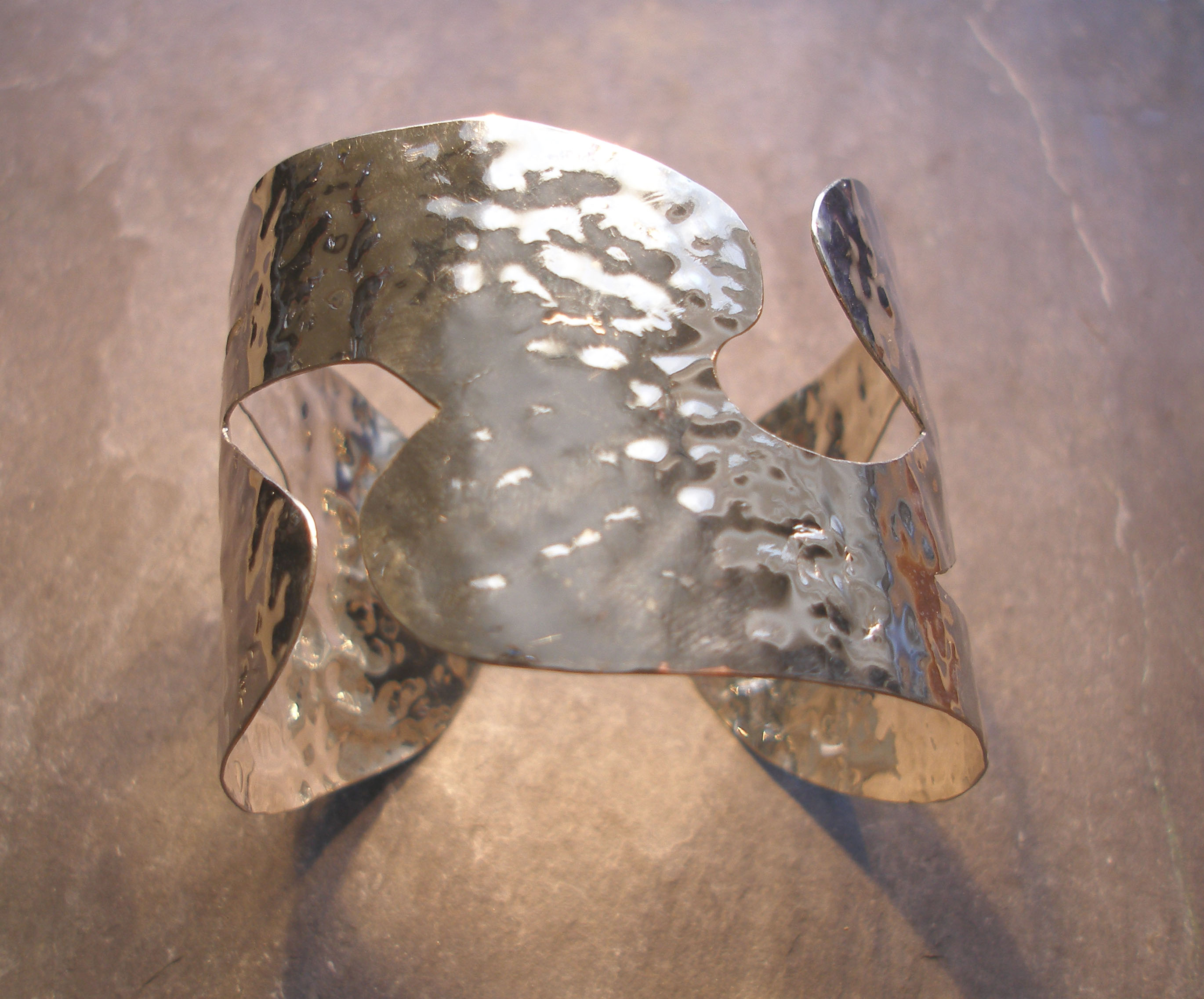 Curvy Hammered Silver Cuff Bangle