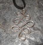 Large Curvy Celtic Knot Silver Pendant