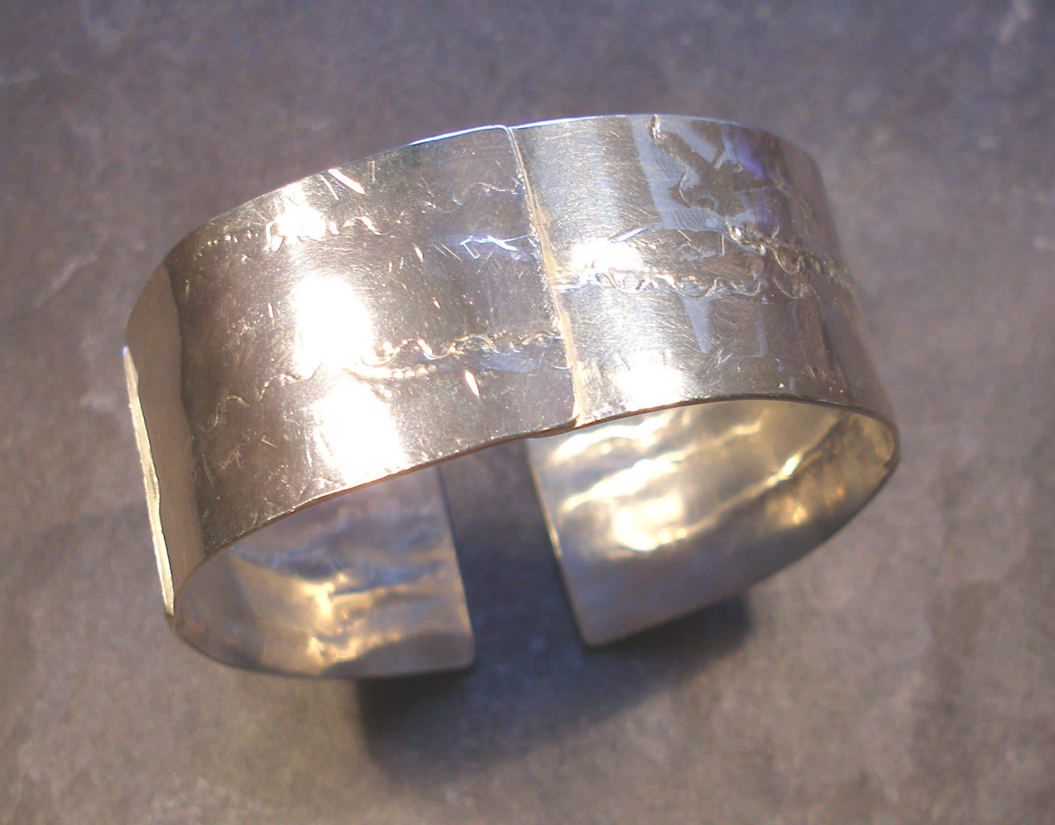 Chunky Textured Large Silver Cuff Bangle