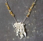 Silver Bell Flower Necklace with Citrine stones