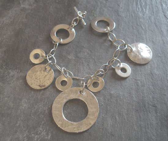 Sterling Silver Hammered Circles Bracelet or Necklace