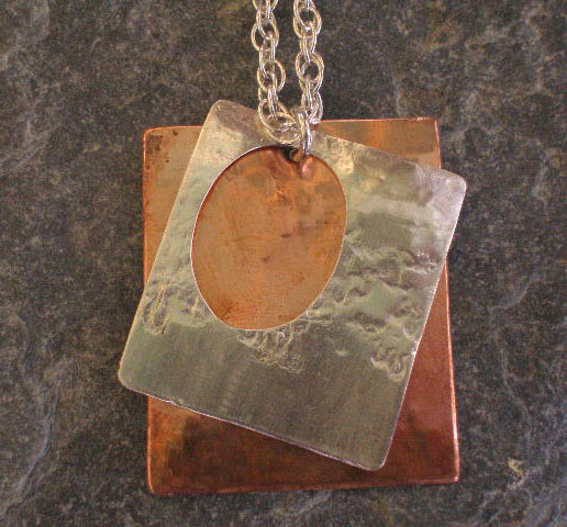Copper and Silver Textured Rectangles Pendant