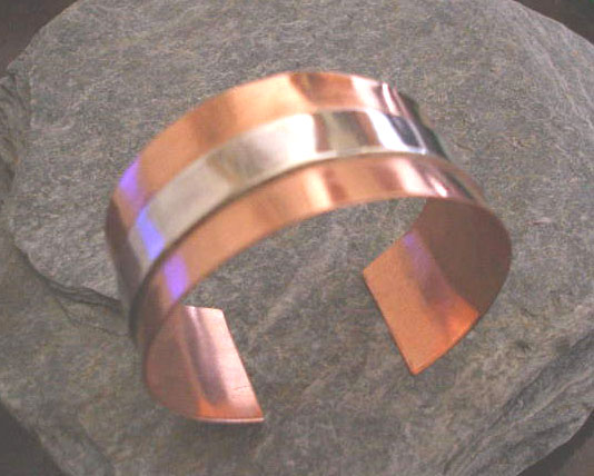 Copper and Sterling Silver Layered Thick Bangle Cuff