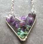 Sterling Silver Heart Pendant Necklace with Amethyst and Emerald
