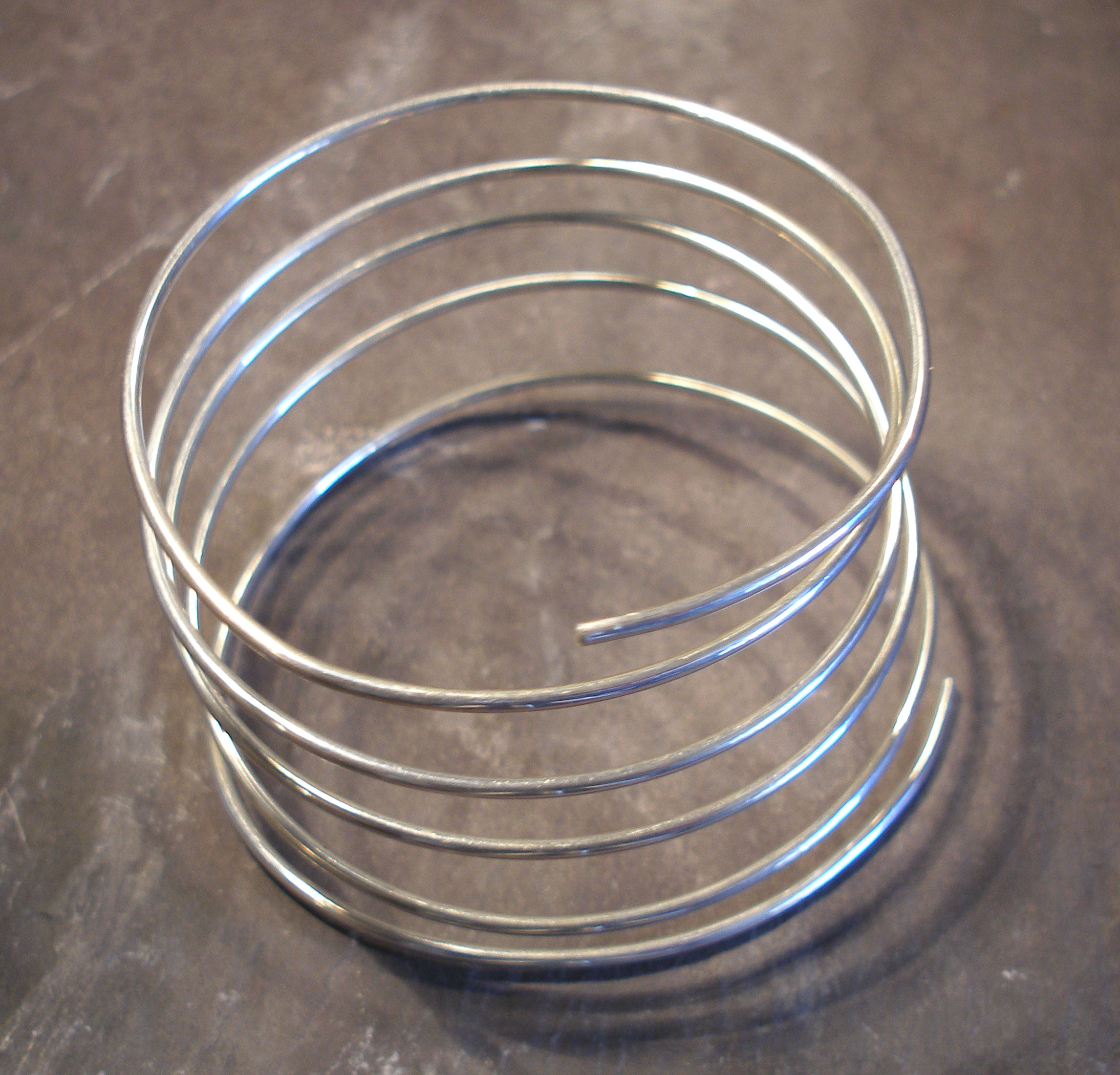 Sterling Silver Large Spiral Spring Bangle