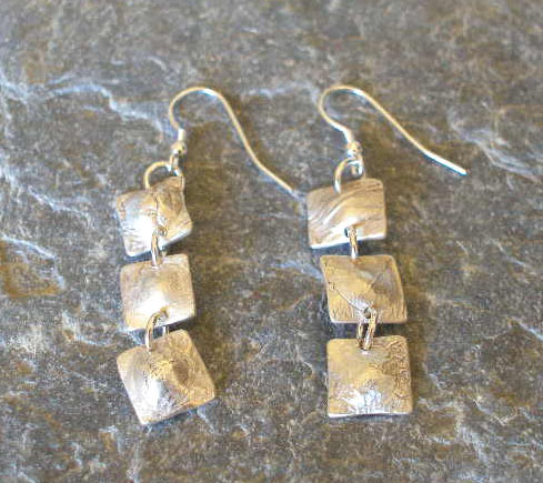 3 Squares Textured Sterling Silver Earrings