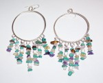 silver hoop earrings with semi-precious stones
