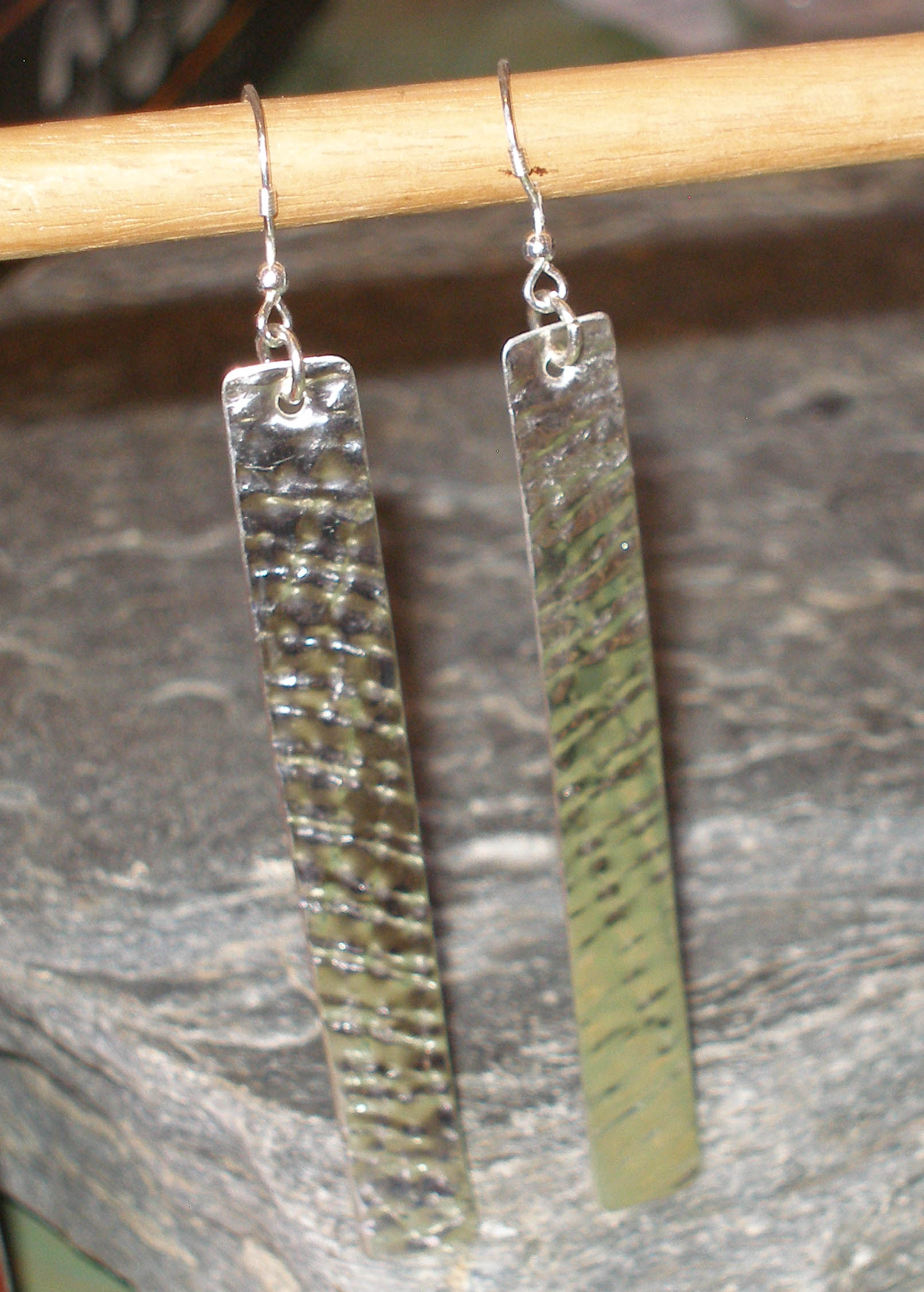 Slim Textured Sterling Silver Earrings