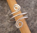 Curvy Silver Spiral Toe Ring or Finger Ring (or in 9ct Gold)
