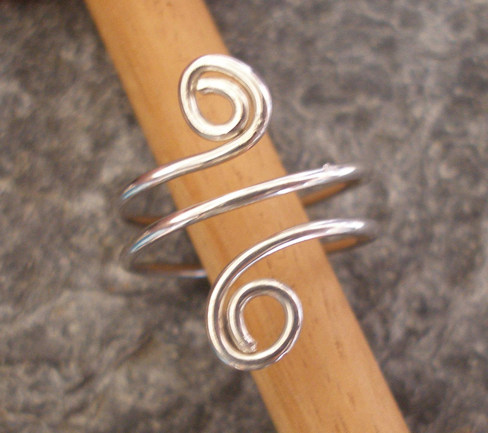 Curvy Silver Spiral Toe Ring or Finger Ring