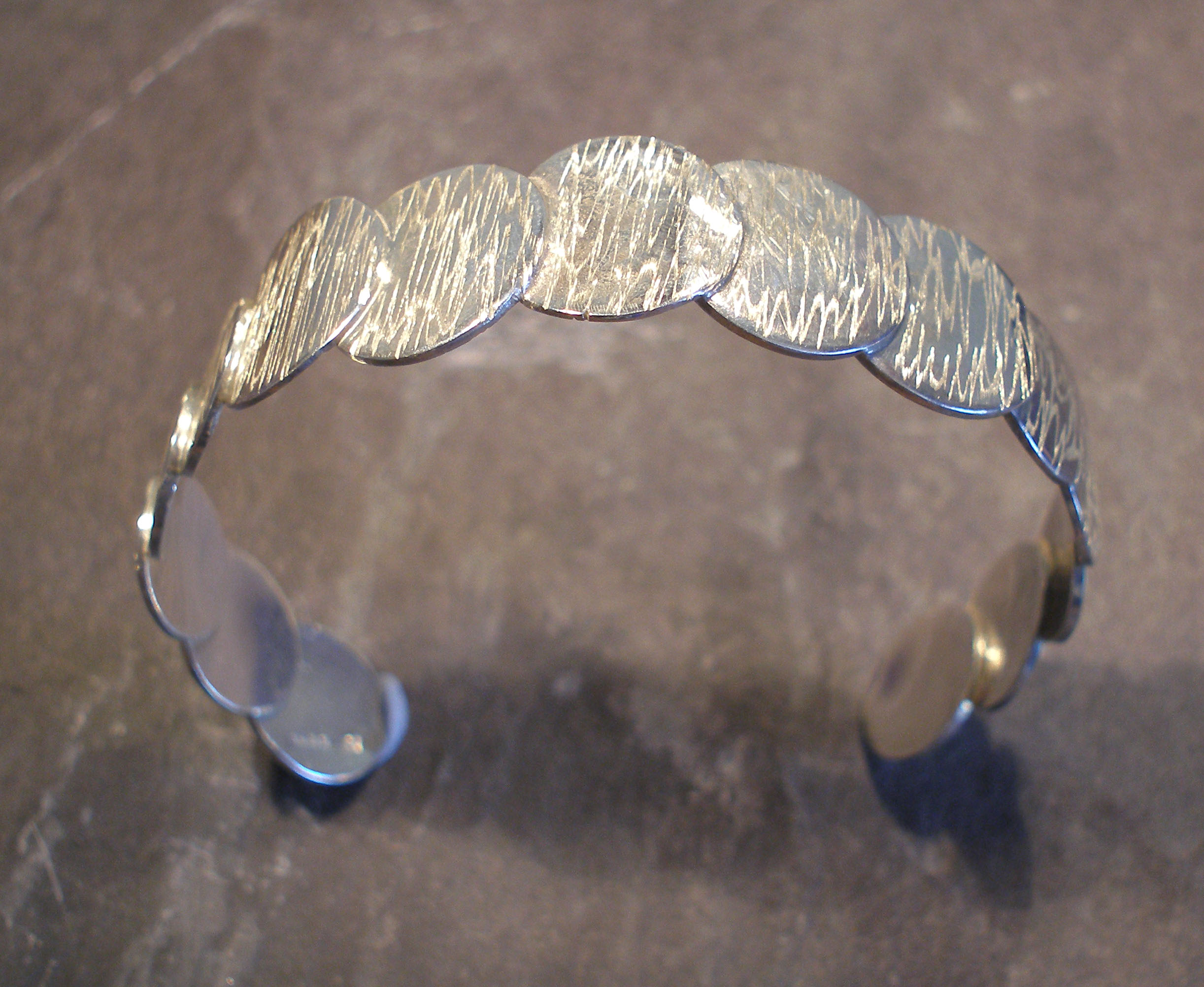 Sterling Silver Hammered Coins Circles Bangle