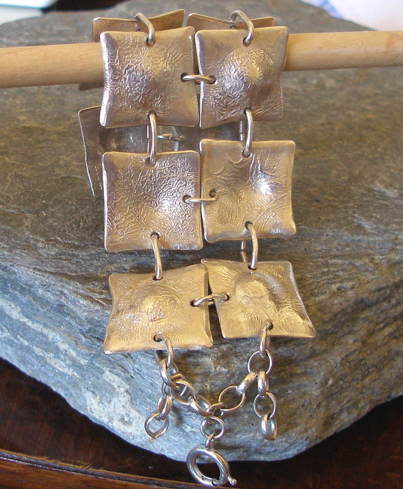 10 Squares Heavy Textured Sterling Silver Bracelet Cuff