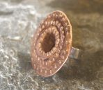 Copper and Sterling Silver Studded Round Textured Ring, any size