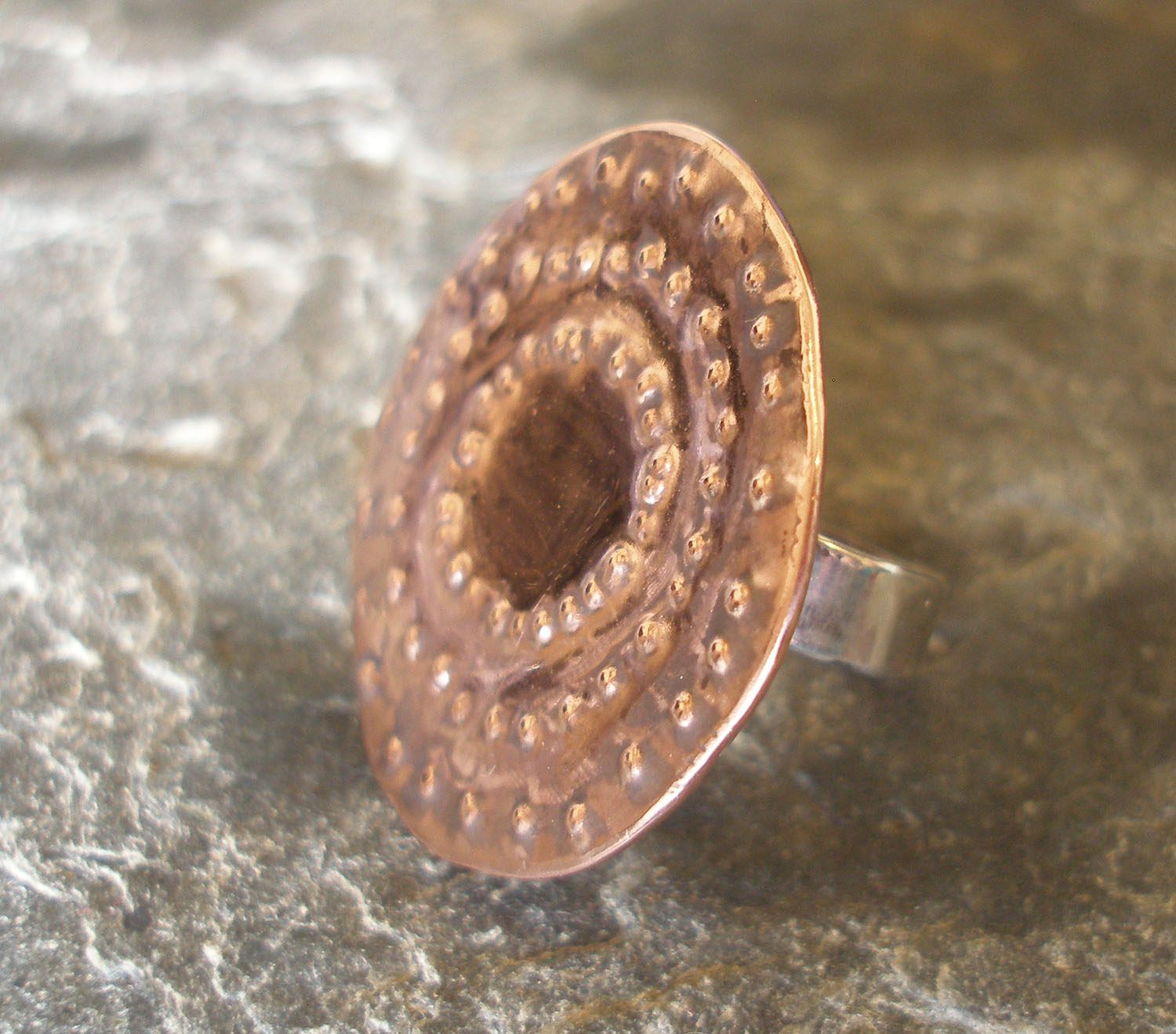 Copper and Sterling Silver Studded Round Textured Ring