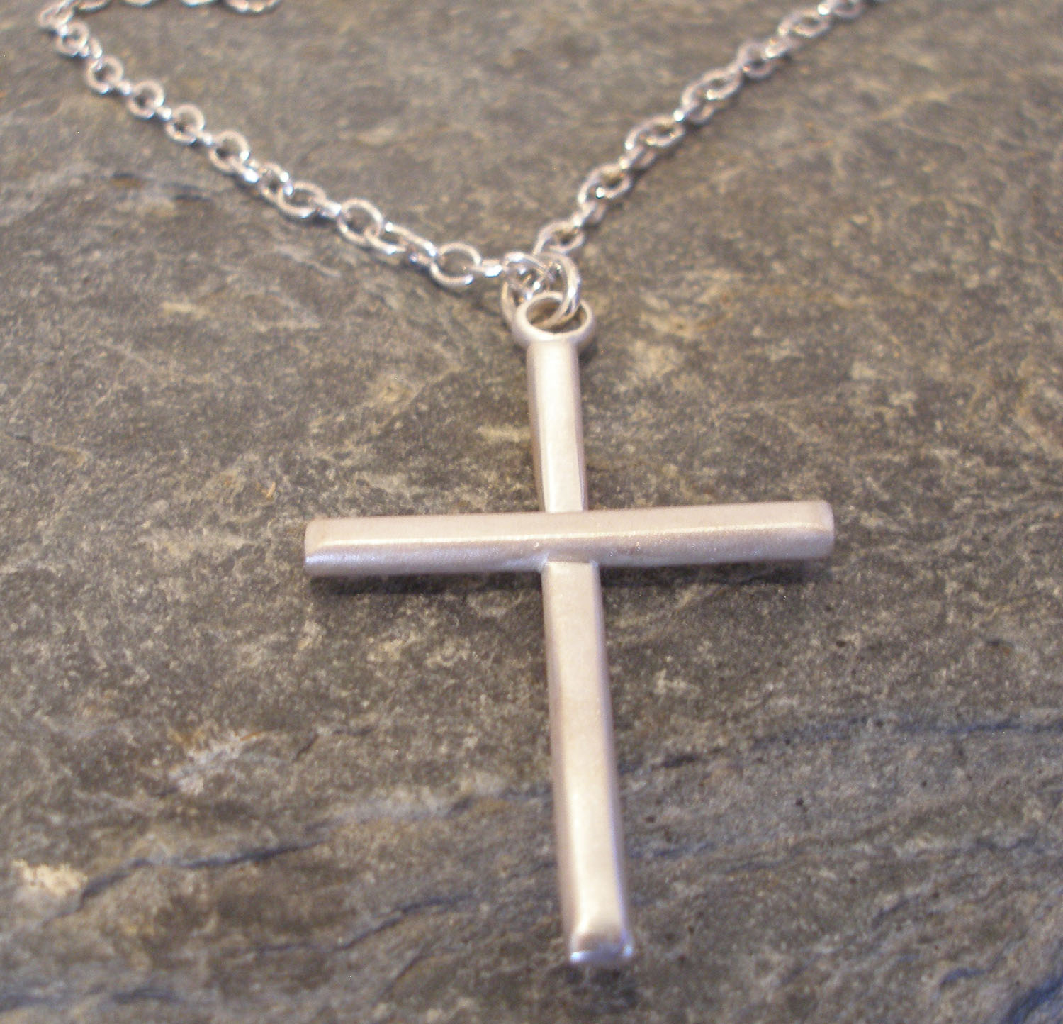 Large Plain Sterling Silver Cross