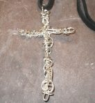 Large Silver Wrapped Cross Pendant (or 9ct Gold)