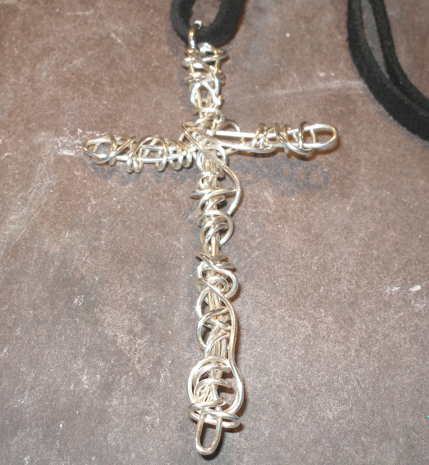 Large Sterling Silver Wrapped Cross Pendant