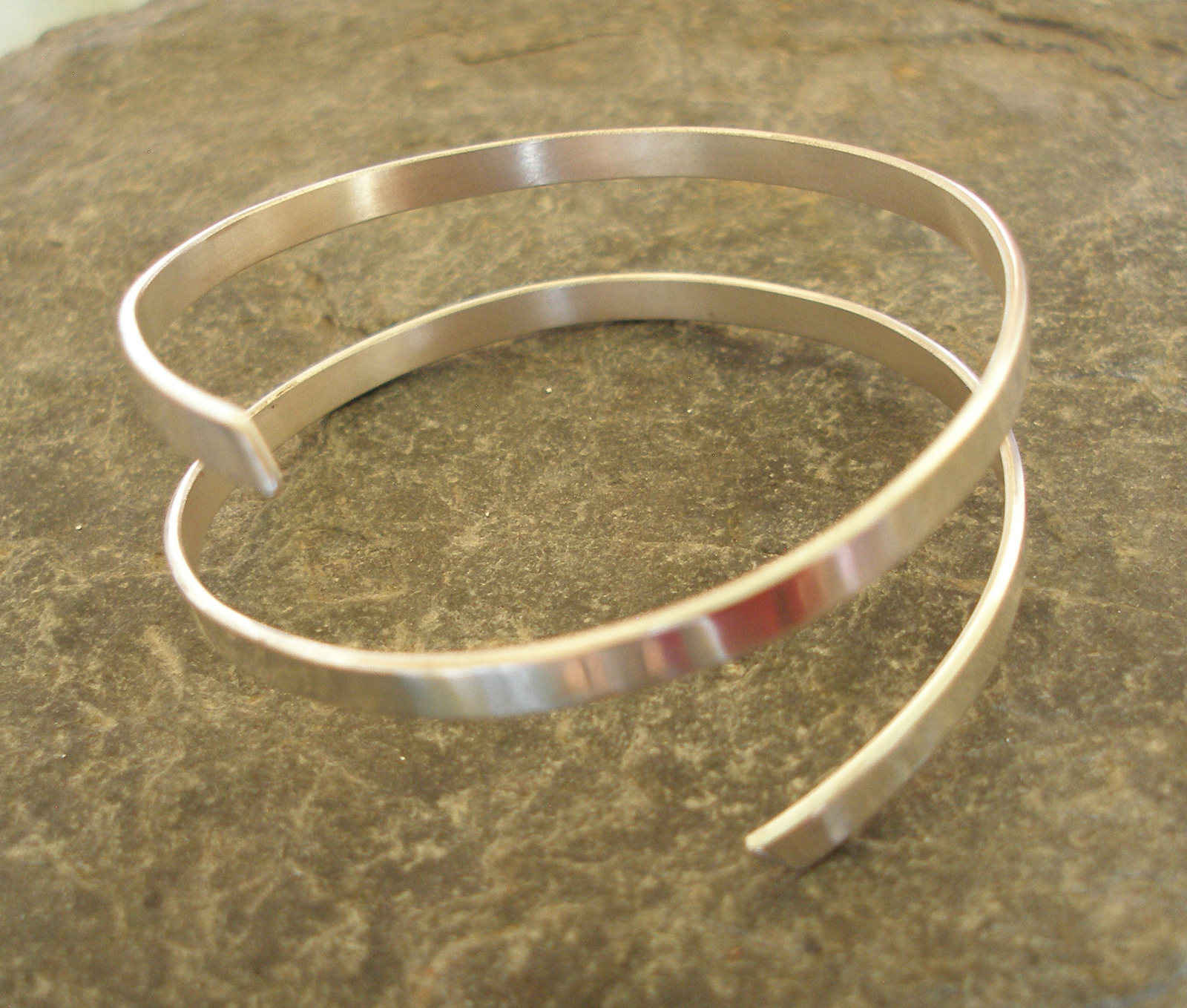2 strand thick polished silver bangle cuff