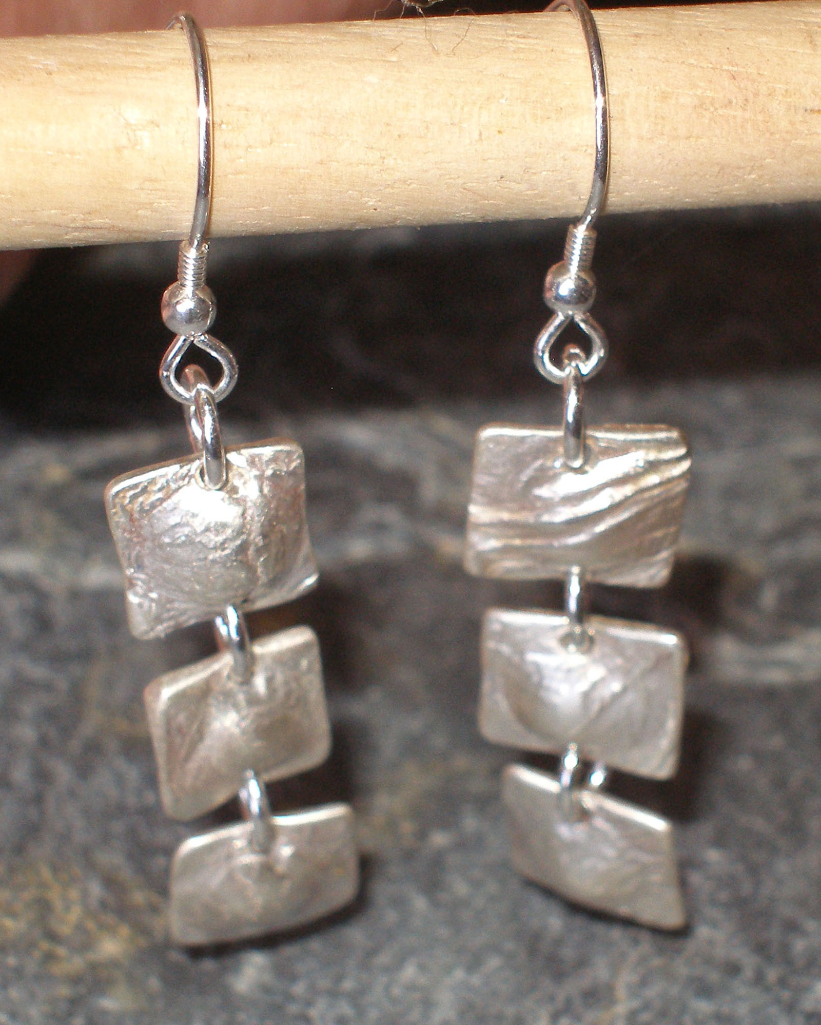 Squares Textured Sterling Silver Earrings