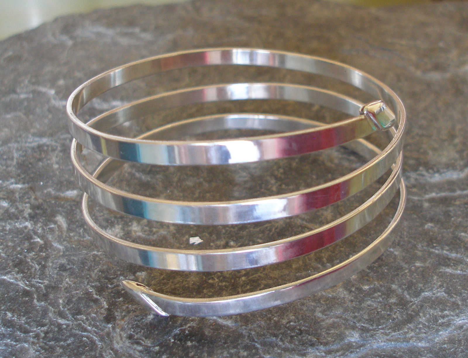 4 strand thick polished silver bangle cuff