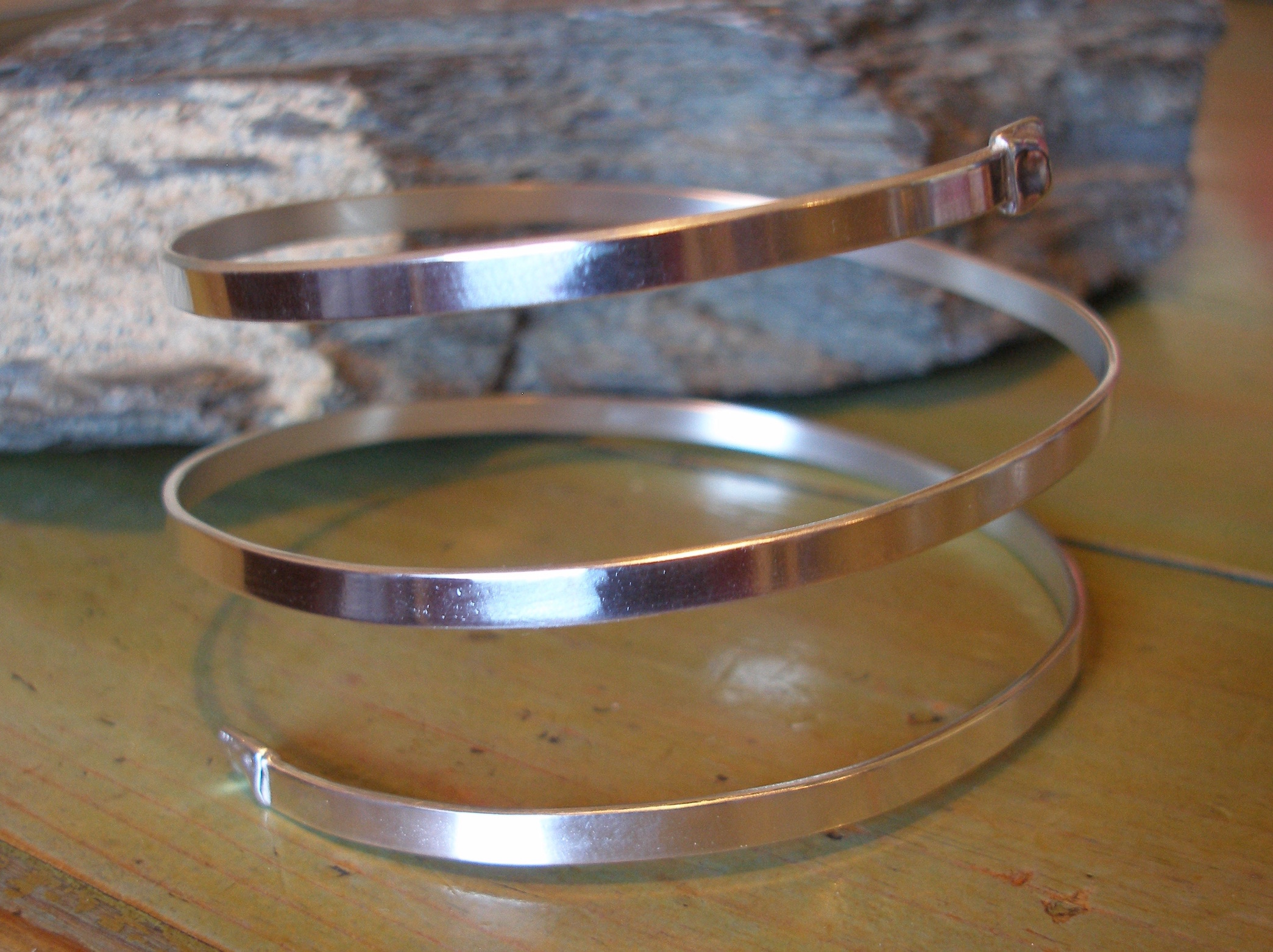 3 strand Thick Silver Bangle