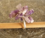 Chunky Amethyst or Rock Crystal Twisted Silver Ring