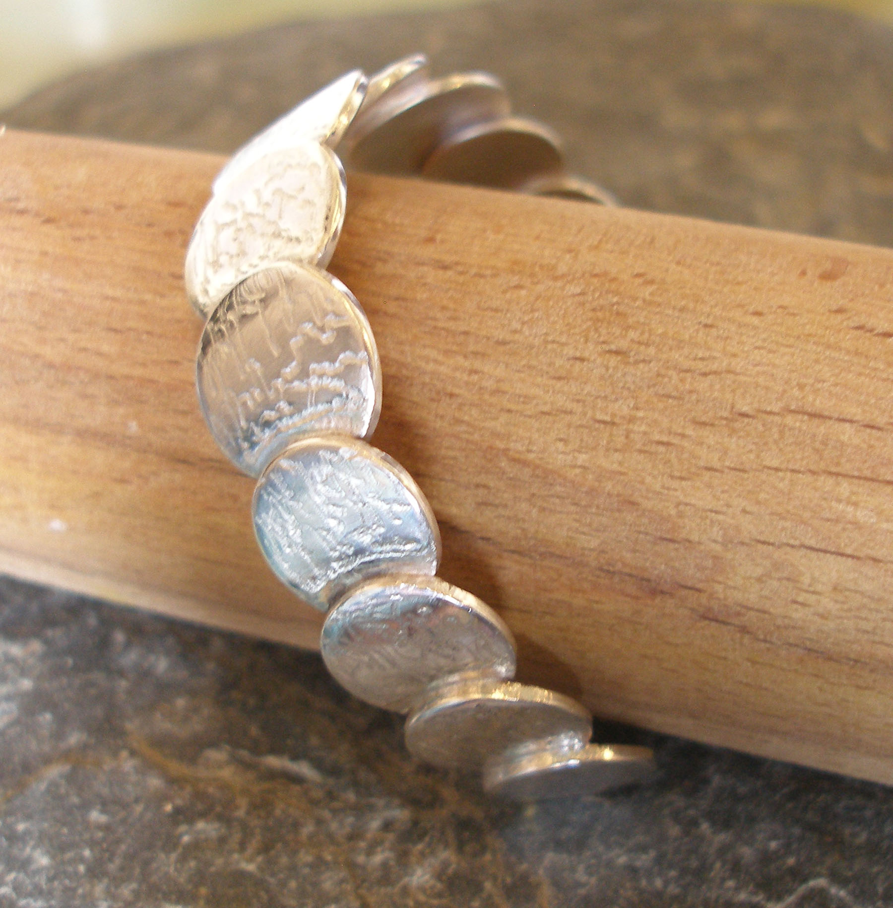 Sterling Silver Hammered Coins Bangle Cuff