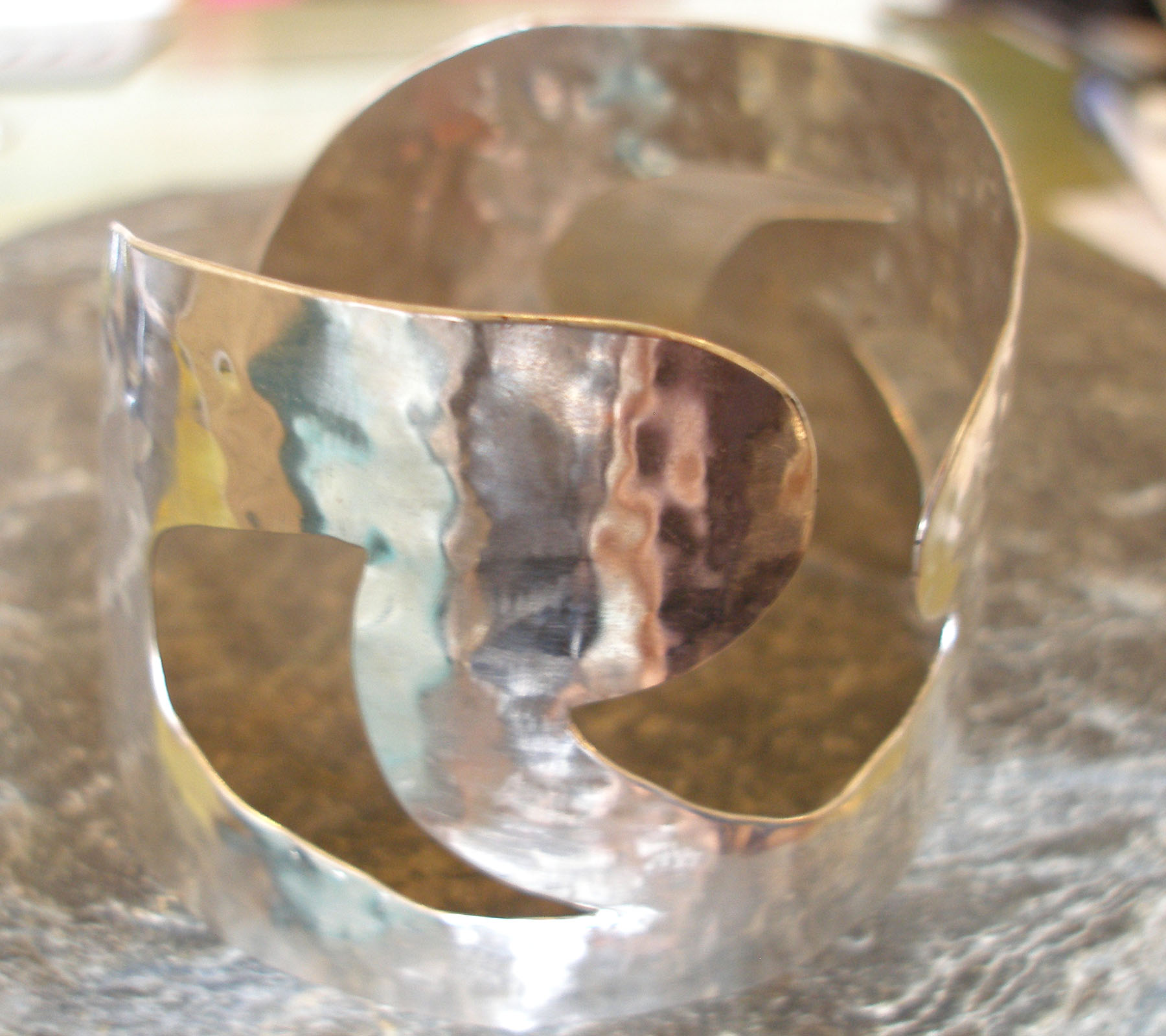 Silver and Copper Curls Large Hammered Cuff Bangle