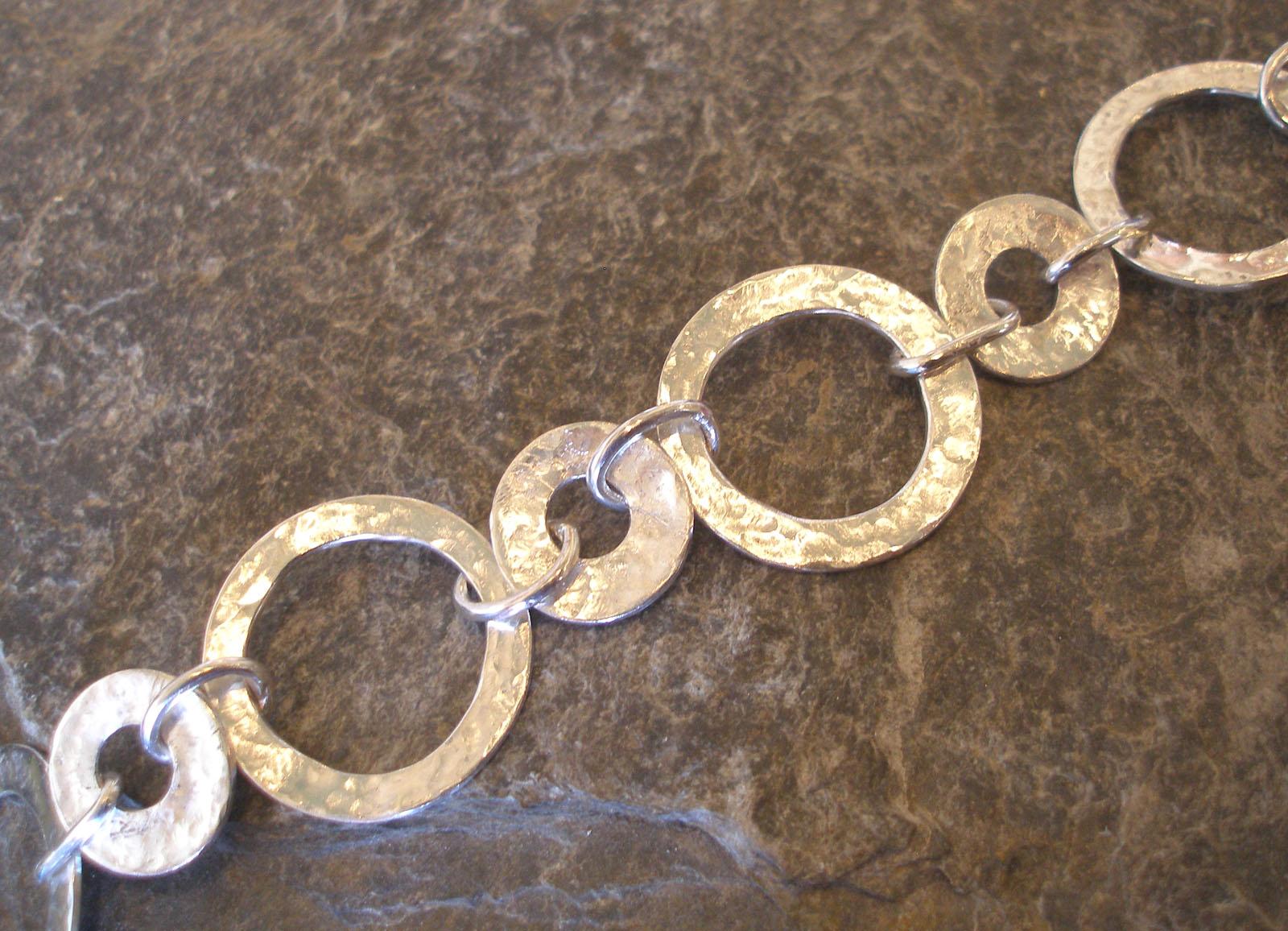 Sterling Silver Hammered Circles Bracelet or Necklace