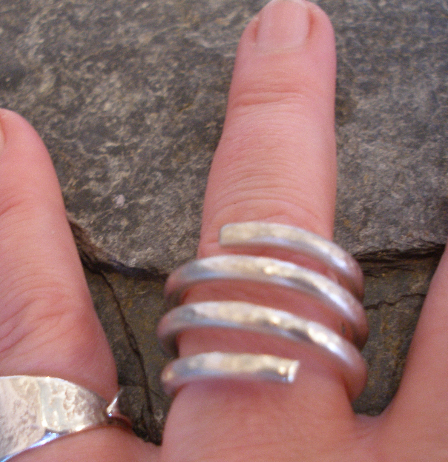 4 Strand Chunky Hammered Matt Satin Silver Ring