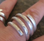 4 Strand Chunky Hammered Satin Silver Ring