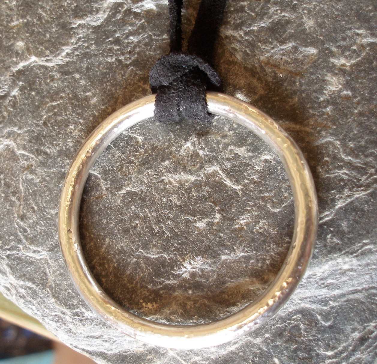 Solid Sterling Silver Teething Ring Circle Pendant