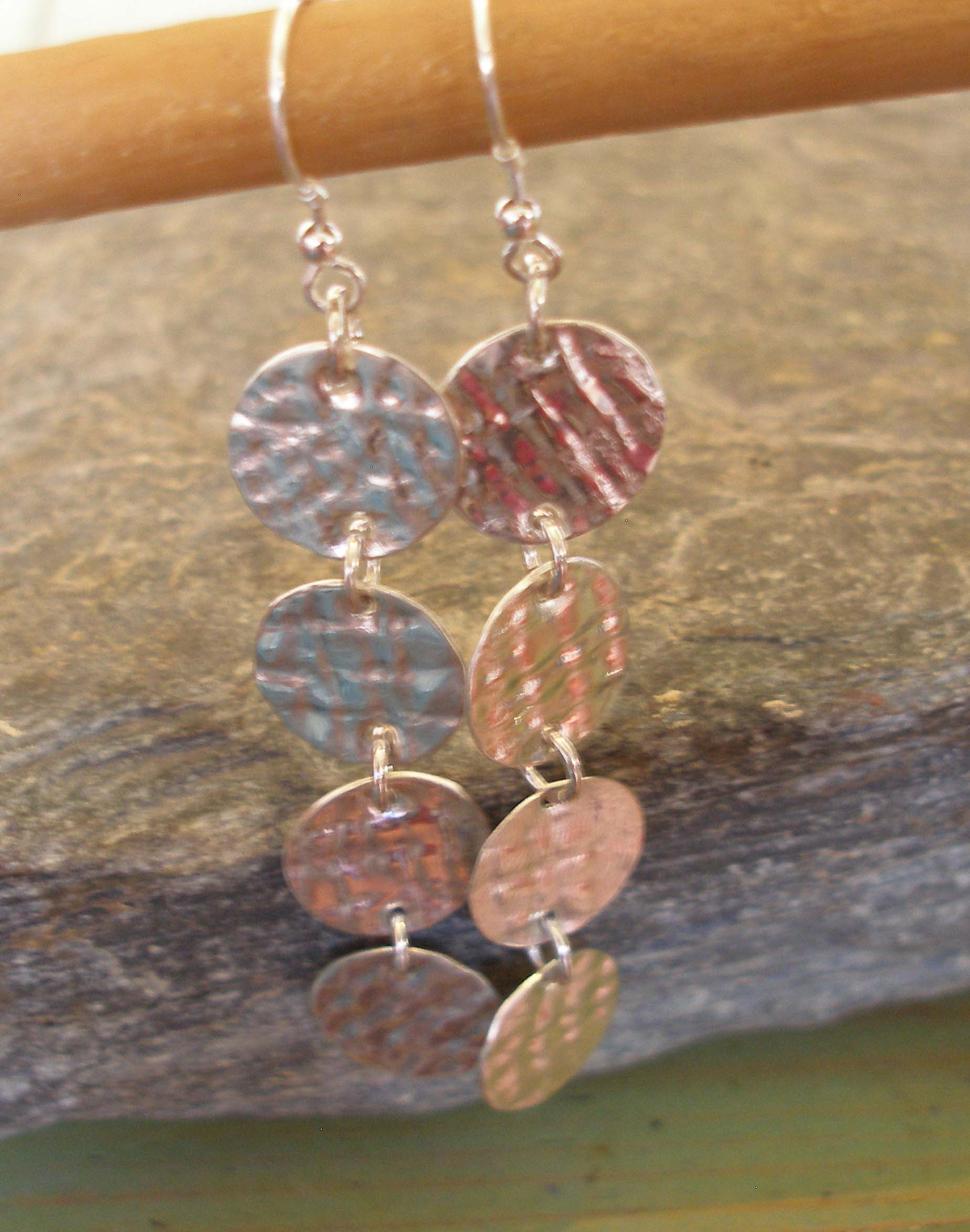 Sterling Silver Textured Circle Coin Earrings