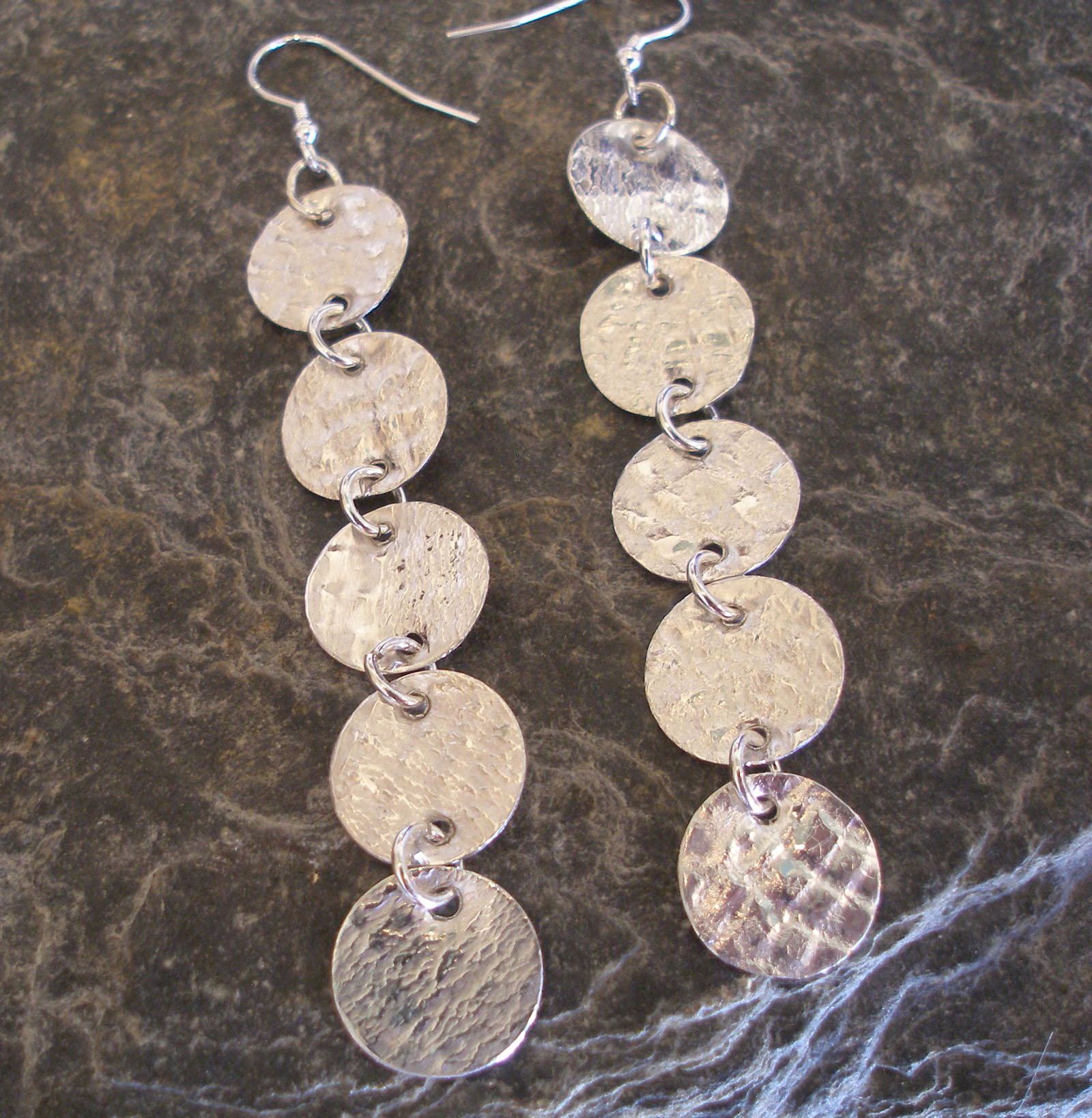 Sterling Silver Textured Coin Earrings